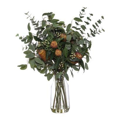 Artificial Banksia & Eucalyptus Mix in Audrey Vase, Red Flower