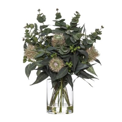Artificial Banksia & Eucalyptus Mix in Pail Vase, Type A, Pink Flower