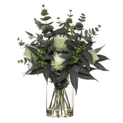 Artificial Banksia & Eucalyptus Mix in Pail Vase, Type A, White Flower