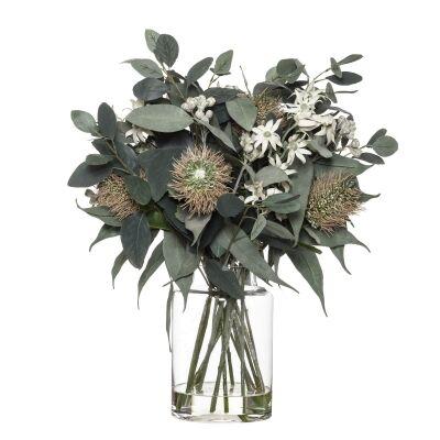 Artificial Banksia & Eucalyptus Mix in Pail Vase, Type B, Pink Flower