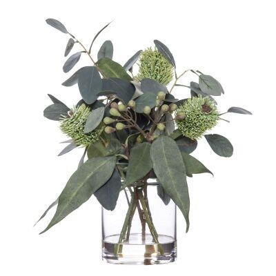 Artificial Banksia & Eucalyptus Mix in Pail Vase, Type C, Green Flower