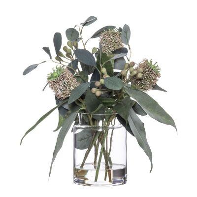 Artificial Banksia & Eucalyptus Mix in Pail Vase, Type C, Pink Flower