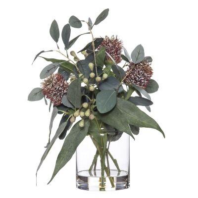 Artificial Banksia & Eucalyptus Mix in Pail Vase, Type C, Red Flower