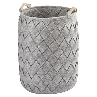 Aquanova Amy Felt Laundry Basket, 75 Litre, Silver Grey