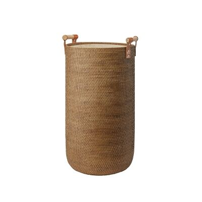Aquanova Cino Handcrafted Rattan Laundry Basket, 58 Litre, Ginger