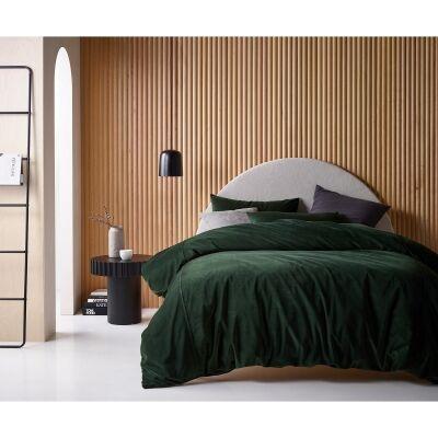 Vintage Design Homeware Cotton Velvet Quilt Cover Set, King, Forest Green