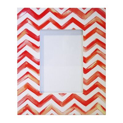 Shibori Painted Pattern Photo Frame, Chevron, 4x6""