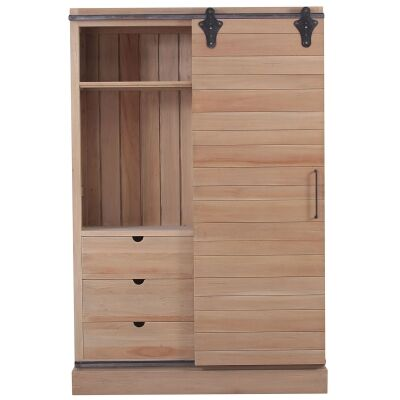 Marquet Mahogany Timber Sliding Door Kitchen Cupboard, Vintage Birch
