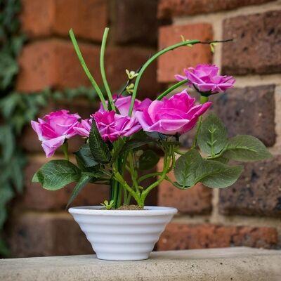 Artificial Roses in Pot - Hot Pink