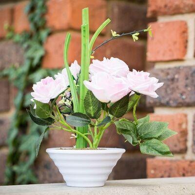 Artificial Roses in Pot - Pink