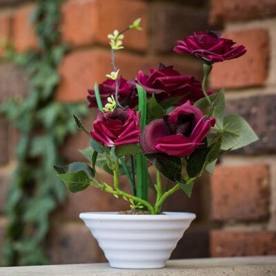 Artificial Roses in Pot - Red