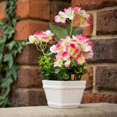 Artificial Miniature Hydrangeas in Pot - Hot Pink