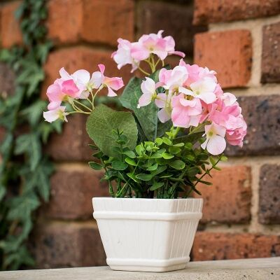Artificial Miniature Hydrangeas in Pot - Pink