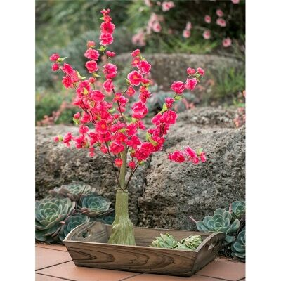 Artificial Cherry Blossom Miniature Tree with Wooden Tray - Hot Pink