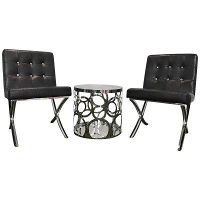 Alice & Celestine 3 Piece Lounge Set, Black