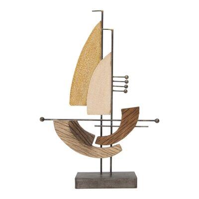 Sisto Metal & Wood Sailboat Figurine