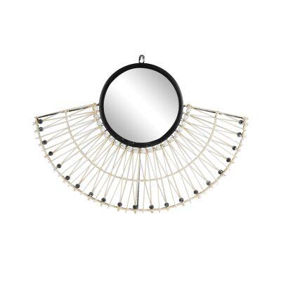 Roland Rattan Frame Fan Wall Mirror, 60cm