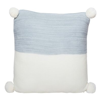 Calgary Pom Pom Knitted Cotton Scatter Cushion, Grey