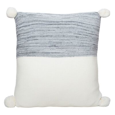 Calgary Pom Pom Knitted Cotton Scatter Cushion, Charcoal