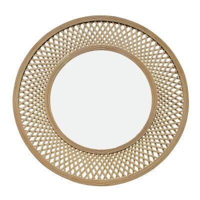 Duke Bamboo Frame Round Wall Mirror, 96.5cm, Natural