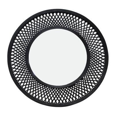 Duke Bamboo Frame Round Wall Mirror, 96.5cm, Black