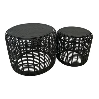 Brysen 2 Piece Bamboo Round Side Table Set, Black