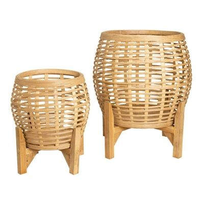 Whittaker 2 Piece Bamboo Planter Stand Set, Natural