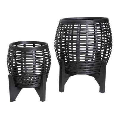 Whittaker 2 Piece Bamboo Planter Stand Set, Black
