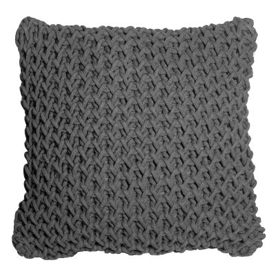 Zara Hand Knitted Cotton Scatter Cushion, Charcoal