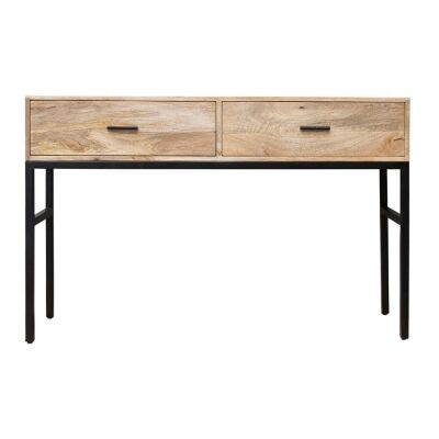 Haines Mango Wood & Iron Console Table, 118cm