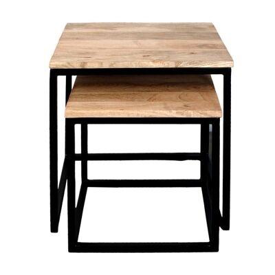 Houston 2 Piece Mango Wood & Iron Nesting Side Table Set