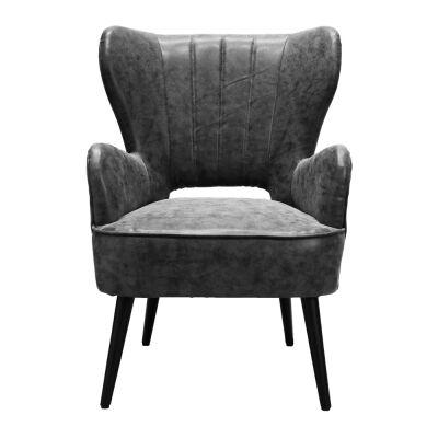 Declan Faux Leather Armchair, Black