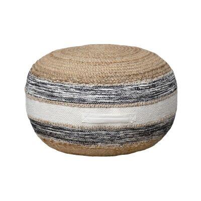 Lyra Cotton & Jute Round Ottoman
