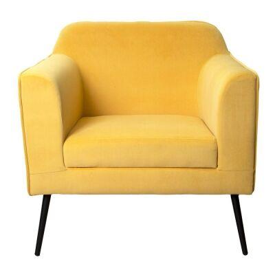 Margot Velvet Fabric Armchair, Marigold