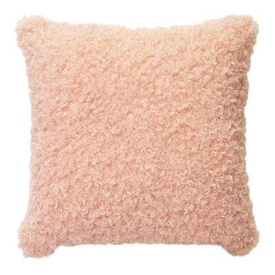 Lyla Faux Sheep Fur Scatter Cushion, Peach