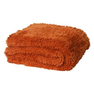 Eve Fur Knitted Plush Throw, 130x160cm, Amber