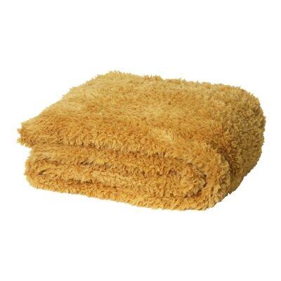 Eve Fur Knitted Plush Throw, 130x160cm, Marigold