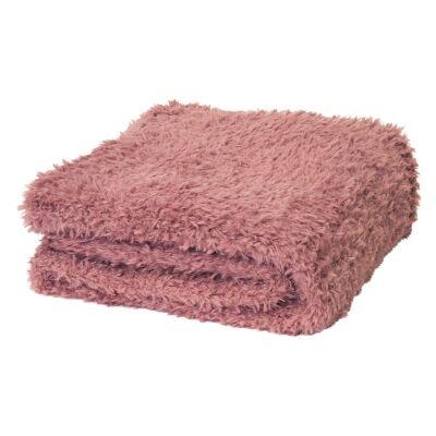 Eve Fur Knitted Plush Throw, 130x160cm, Dusty Mauve