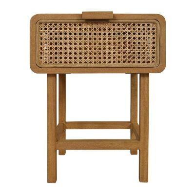 Seabrook Bayur Wood & Rattan Bedside Table