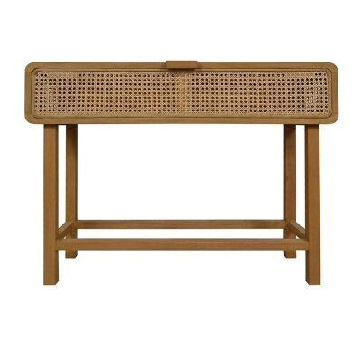Seabrook Bayur Wood & Rattan Console Table, 100cm
