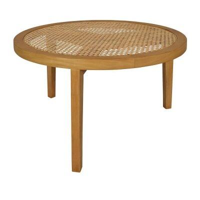 Seabrook Bayur Wood & Rattan Round Coffee Table, 75cm