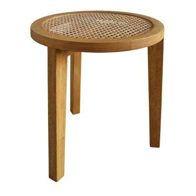 Seabrook Bayur Wood & Rattan Round Side Table
