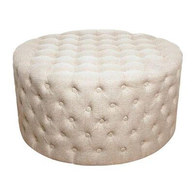 Jace Linen Fabric Round Ottoman, Sandstone