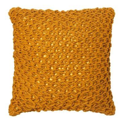 Zara Hand Knitted Cotton Scatter Cushion, Mustard