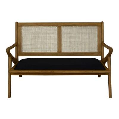 Zadie Bayur Wood & Rattan Sofa, 2 Seater
