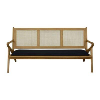 Zadie Bayur Wood & Rattan Sofa, 3 Seater