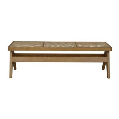 Seabrook Bayur Wood & Rattan Bench