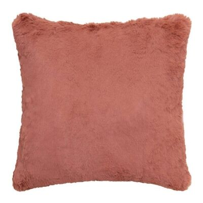 Arlo Faux Rabbit Fur Scatter Cushion, Clay Pink