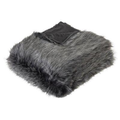 Grey Wolf Faux Fur Throw, 130x160cm