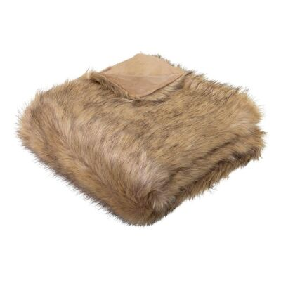 Grizzly Wolf Faux Fur Throw, 130x160cm